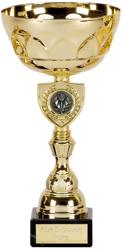 "Gold Pegasus Trophy Cup with Shield Design 21.5cm (8.5"")"
