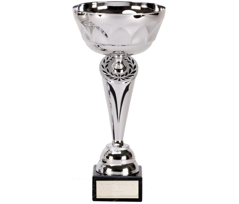"""Silver Cygnus Trophy Cup with Black Trim 14.5cm (5.75"""")"""
