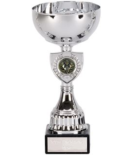 "Silver Trophy Cup with Shield Design 21.5cm (8.5"")"