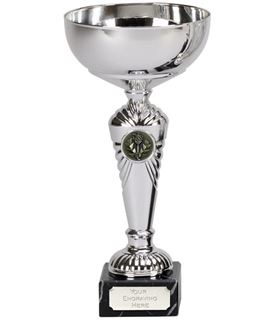"Silver Deco Trophy Cup on Marble Base 22cm (8.75"")"