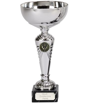 """Silver Deco Trophy Cup on Marble Base 22cm (8.75"""")"""