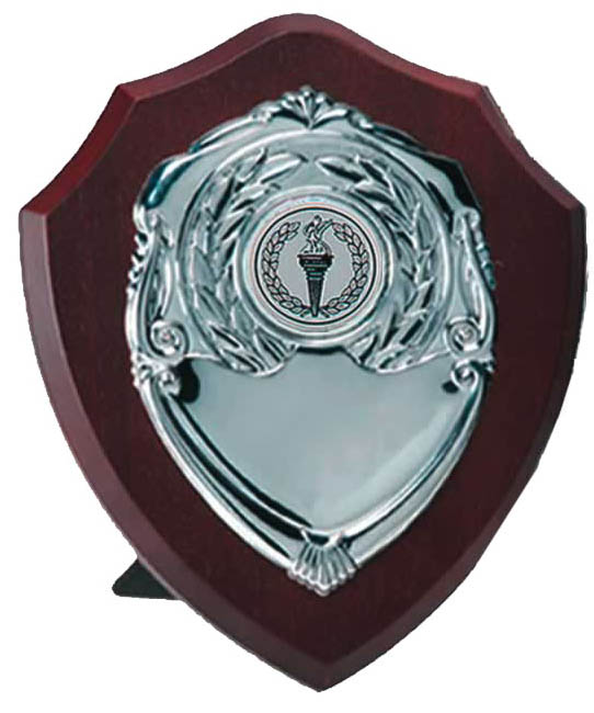 "Silver Presentation Shield on Wooden Plaque 10cm (4"")"