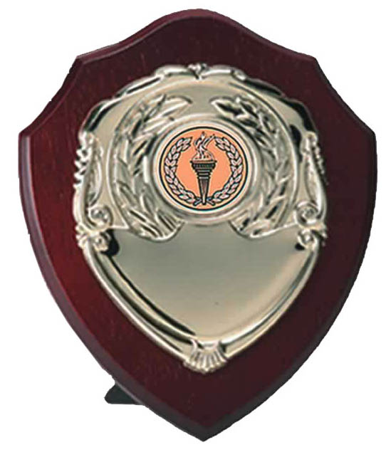 "Gold Presentation Shield on Wood 10cm (4"")"