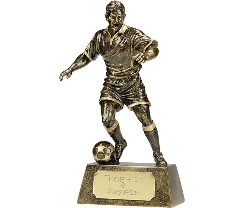 "Antique Gold Pinnacle Footballer Trophy 24cm (9.5"")"