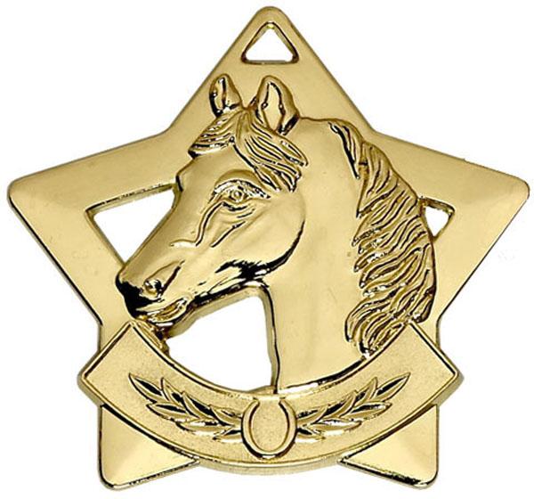 "Gold Mini Stars Equestrian Medal 6cm (2.25"")"