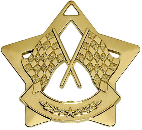 "Gold Mini 4 Star Motorsport Flag Medal 60mm (2.25"")"