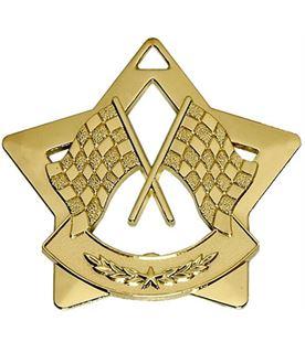 "Gold Mini 4 Star Motorsport Flag Medal 60mm (2.25"")"