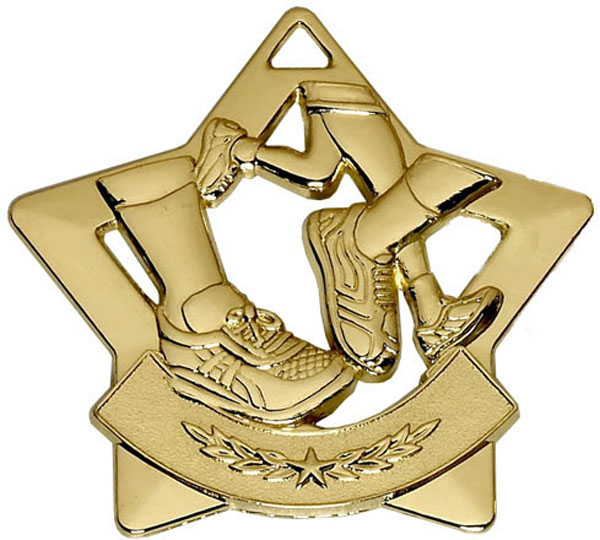 "Gold Mini Star Running Medal 60mm (2.25"")"