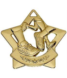 "Gold Mini Star Running Medal 60mm (2.25"")"