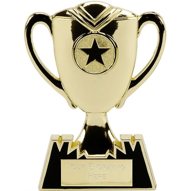 "Metal Cup Plaque Award in Gold 12.5cm (5"")"