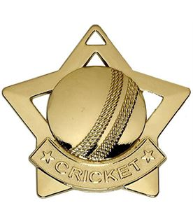 "Gold Mini Stars Cricket Medal 60mm (2.25"")"