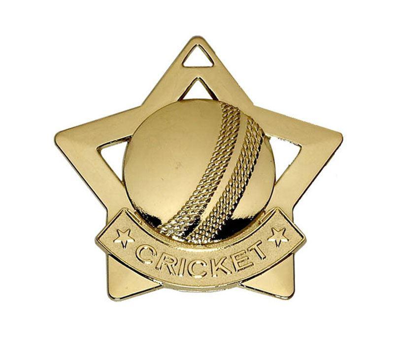 """Gold Mini Stars Cricket Medal 60mm (2.25"""")"""