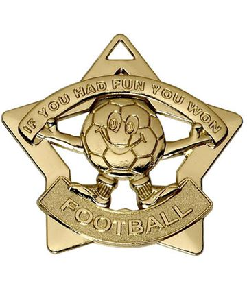 "Gold Mini Stars Football Medal 60mm (2.25"")"