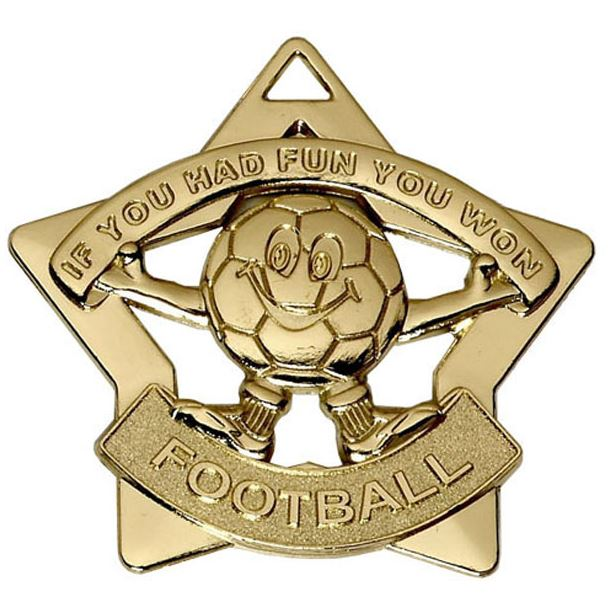 """Gold Mini Stars Football Medal 60mm (2.25"""")"""