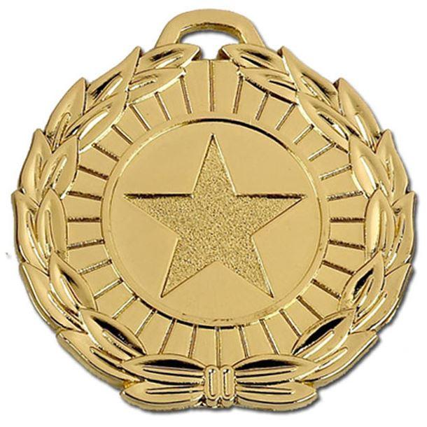 "Gold Mega Star 50 Medal 50mm (2"")"