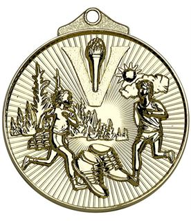 "Gold Horizon Running Cross Country Medal 52mm (2"")"