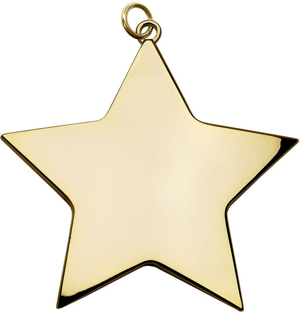 "Gold High Polish Star Achievement Medal 68mm (2.75"")"