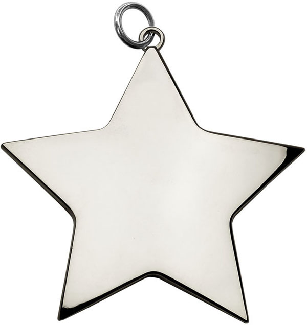 "Silver High Polish Star Achievement Medal 54mm (2.25"")"