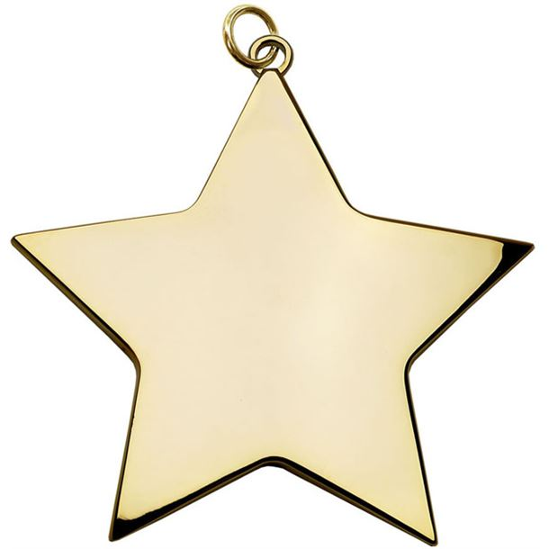 "Gold High Polish Star Achievement Medal 80mm (3.25"")"