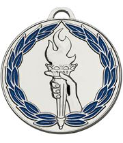 "Silver & Blue Classic Torch Medal 50mm (2"")"