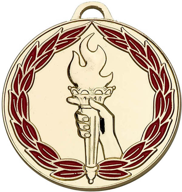 "Gold & Red Classic Torch Medal 50mm (2"")"