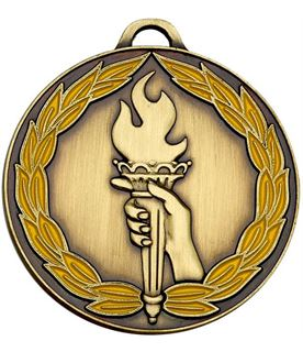 """Bronze & Yellow Classic Torch Medal 50mm (2"""")"""