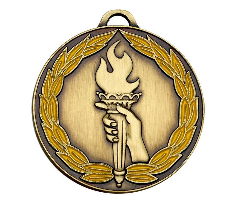 "Bronze & Yellow Classic Torch Medal 50mm (2"")"