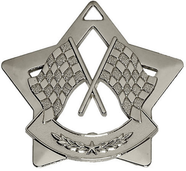"Silver Mini 4 Star Motorsport Flag Medal 60mm (2.25"")"