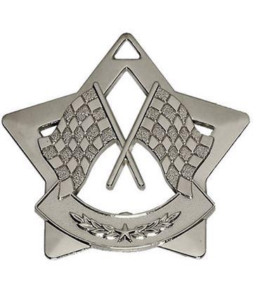 "Silver Mini 4 Star Motorsport Flag Medal 60mm (2.25"")"
