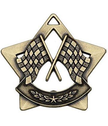 "Bronze Mini 4 Star Motorsport Flag Medal 60mm (2.25"")"