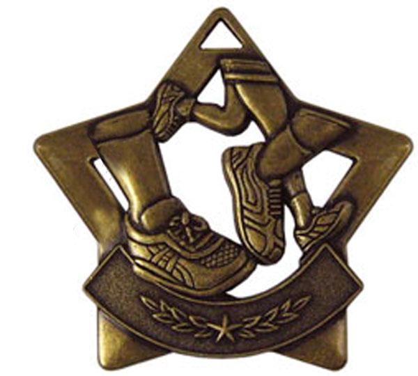"Bronze Mini Star Running Medal 60mm (2.25"")"
