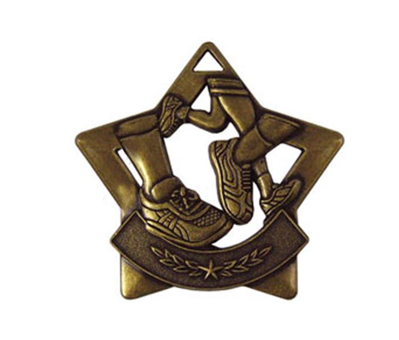 "Bronze Mini Star Running Medal 60mm (2.25"")"