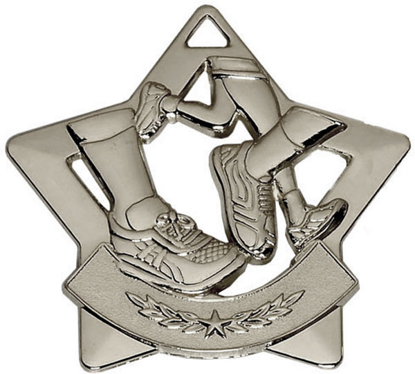 "Silver Mini Star Running Medal 60mm (2.25"")"