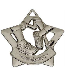 """Silver Mini Star Running Medal 60mm (2.25"""")"""