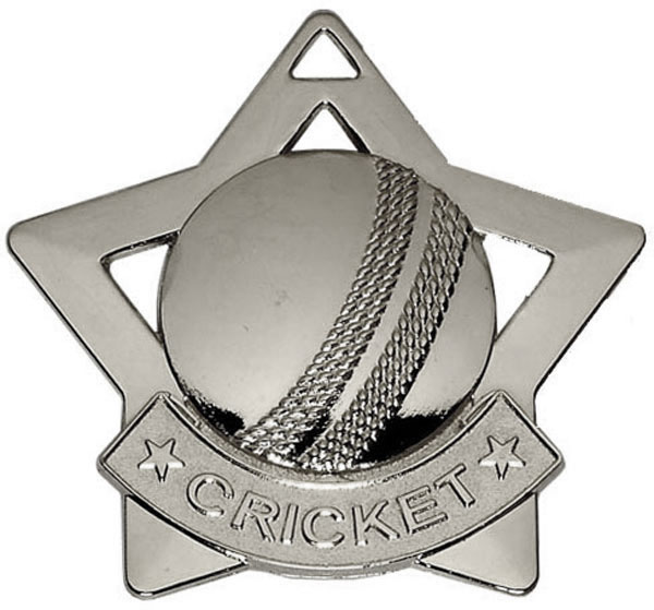 "Silver Mini Stars Cricket Medal 60mm (2.25"")"