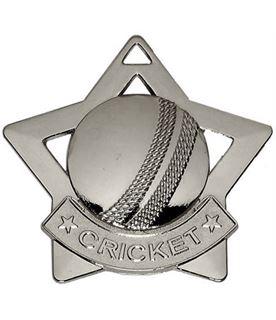 "Silver Mini Stars Cricket Medal 60mm (2.25"")"