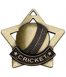 """Bronze Mini Stars Cricket Medal 60mm (2.25"""")"""