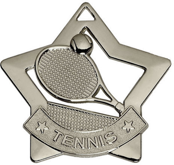 """Silver Mini Stars Tennis Medal 60mm (2.25"""")"""