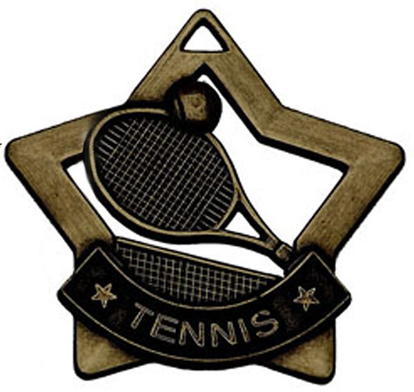 "Bronze Mini Stars Tennis Medal 60mm (2.25"")"