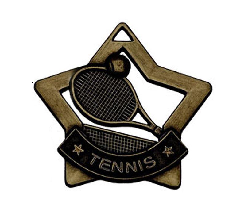 """Bronze Mini Stars Tennis Medal 60mm (2.25"""")"""