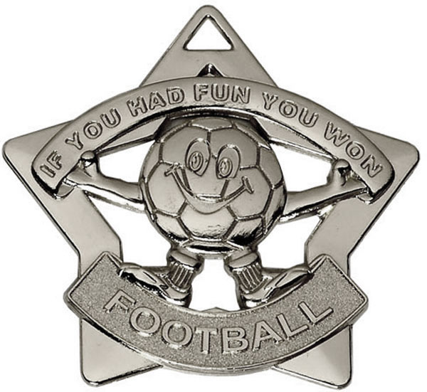 "Silver Mini Stars Football Medal 60mm (2.25"")"