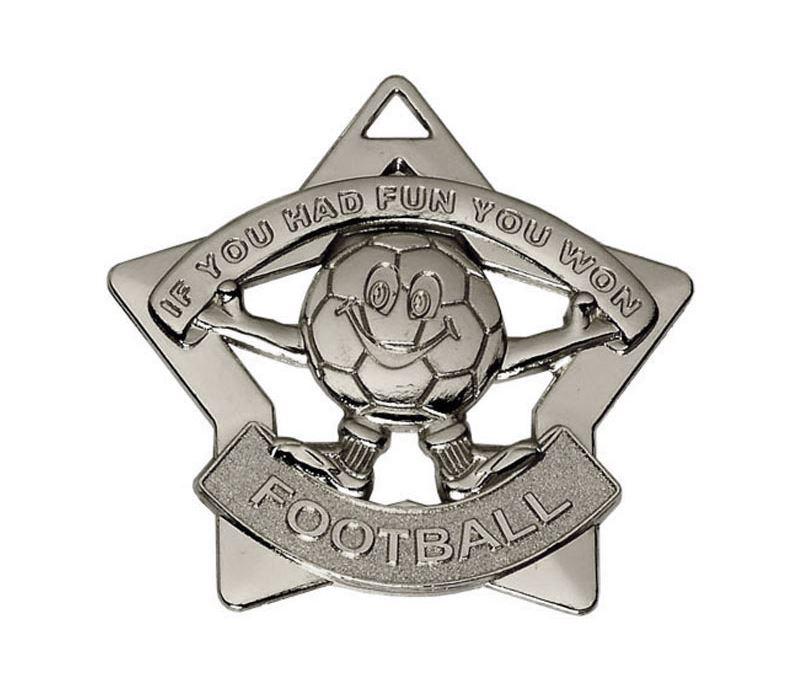 """Silver Mini Stars Football Medal 60mm (2.25"""")"""