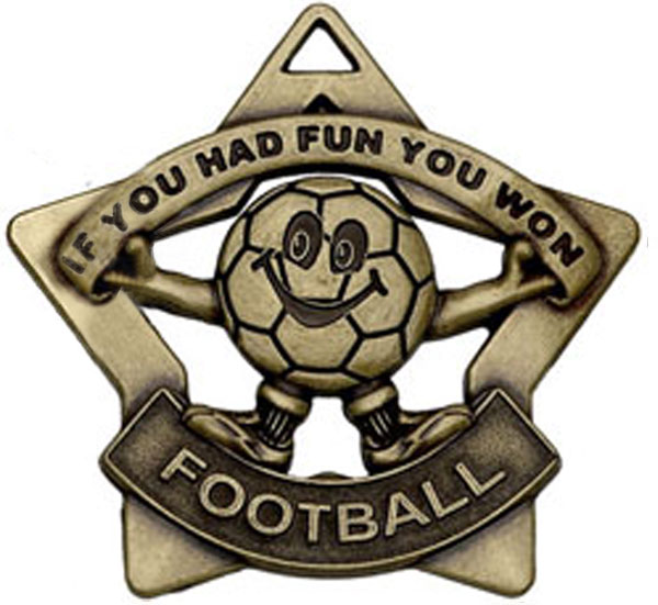 "Bronze Mini Stars Football Medal 60mm (2.25"")"