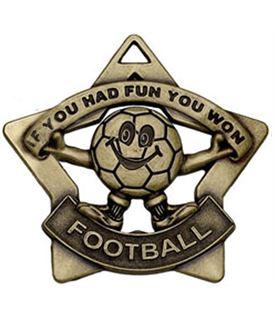 """Bronze Mini Stars Football Medal 60mm (2.25"""")"""