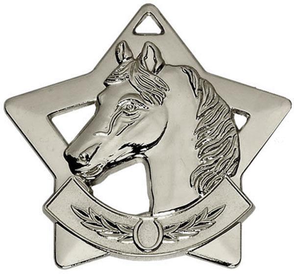 """Silver Mini Stars Equestrian Medal 60mm (2.25"""")"""