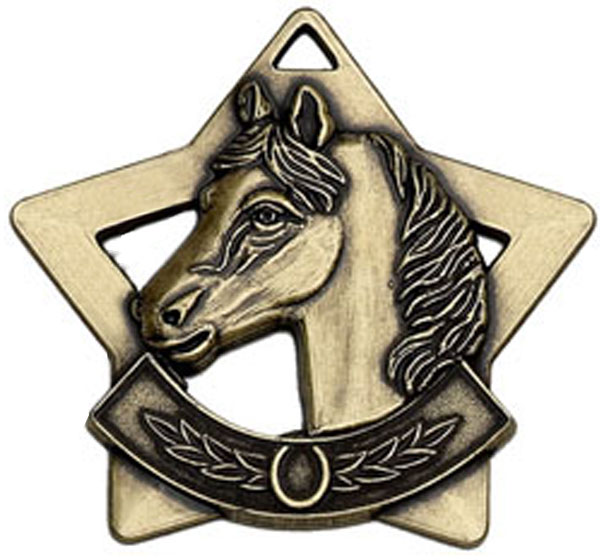 "Bronze Mini Stars Equestrian Medal 60mm (2.25"")"
