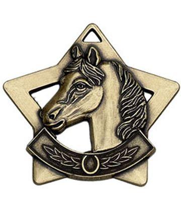 """Bronze Mini Stars Equestrian Medal 60mm (2.25"""")"""