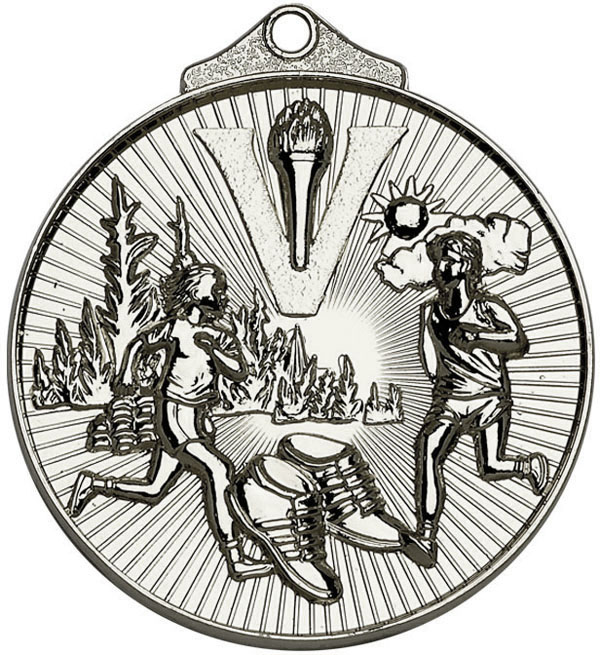 "Silver Horizon Running Cross Country Medal 52mm (2"")"