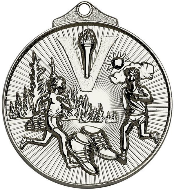 "Silver Horizon Running Cross Country Medal 52mm (2"")"