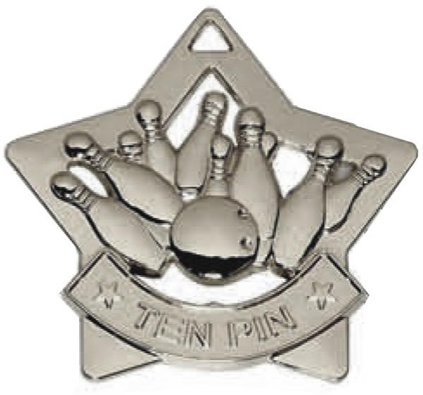 "Silver Mini Stars Ten Pin Medal 6cm (2.25"")"